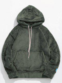 Solid Pouch Pocket Fluffy Hoodie - Army Green S