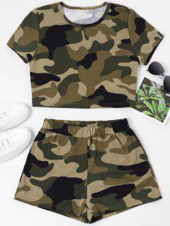 ZAFUL Camouflage Crop Tee And Shorts Set - Camouflage Green M