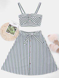 ZAFUL Striped Top And Belted Skirt Set - White L