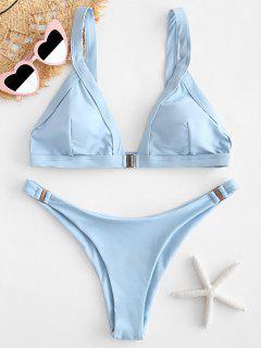 ZAFUL Plunging Low Waist Bikini Set - Light Sky Blue L