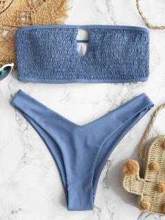 ZAFUL Smocked Bandeau Schlüsselloch Bikini Set - Schiefer Blau L