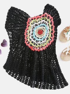 Crochet Tank Cover Up - Black