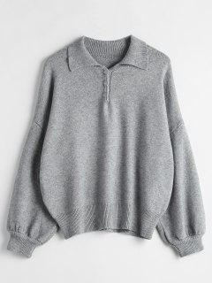 Half-Button-Drop-Schulter-Pullover - Graue Wolke