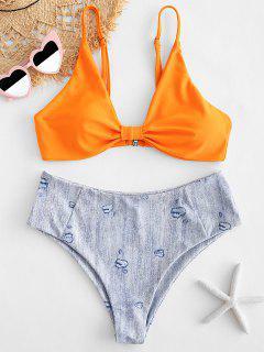 ZAFUL Ensemble De Bikini Imprimé à Coupe Haute En Denim - Orange L