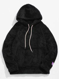 Solid Pouch Pocket Fluffy Hoodie - Black L