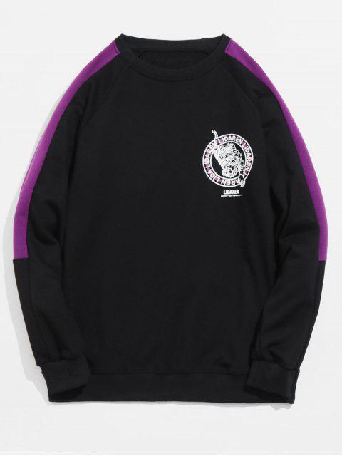 Tiger-Druck-Hülsen-gestreiftes Sweatshirt - Schwarz M Mobile