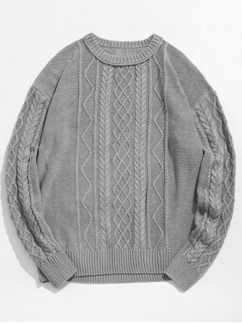 outfit Vintage Pattern Knit Sweater - GRAY GOOSE L Mobile