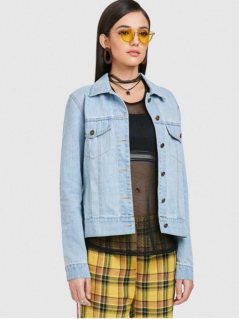 fashion Embroidered Button Up Jean Jacket - JEANS BLUE S Mobile