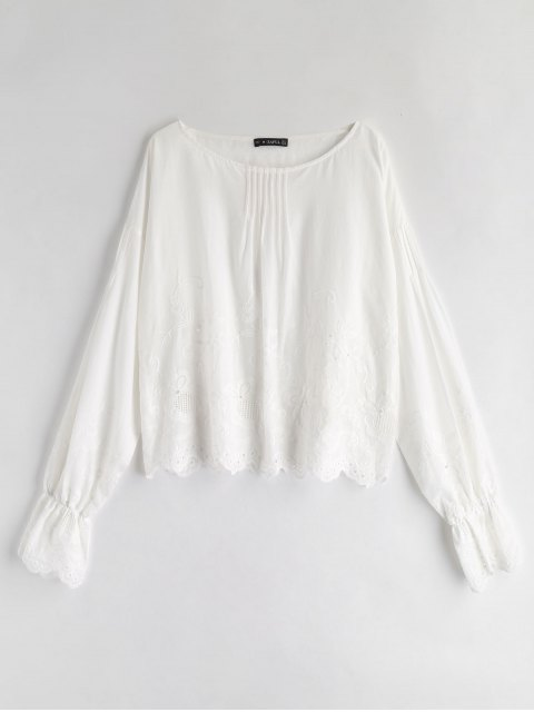 online ZAFUL Flower Eyelet Scalloped Blouse - WHITE L Mobile
