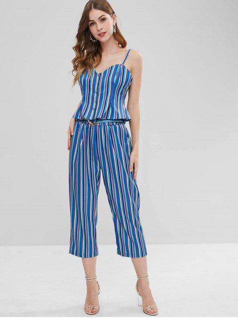 lady Button Up Stripes Top and Pants Set - MULTI S Mobile