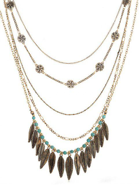 shop Alloy Leaves Faux Turquoise Necklace - GOLD  Mobile