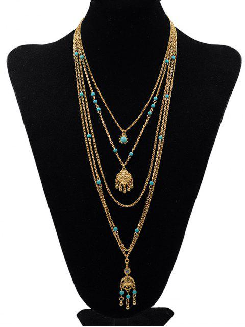 trendy Multilayers Faux Turquoise Pendant Necklace - GOLD  Mobile