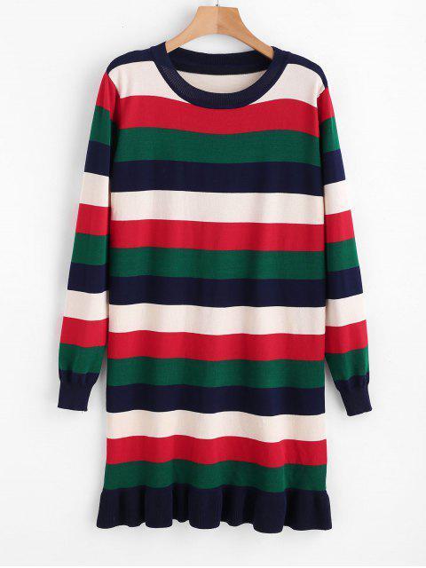 Streifen Rüschen Pullover Kleid - Multi Eine Größe Mobile