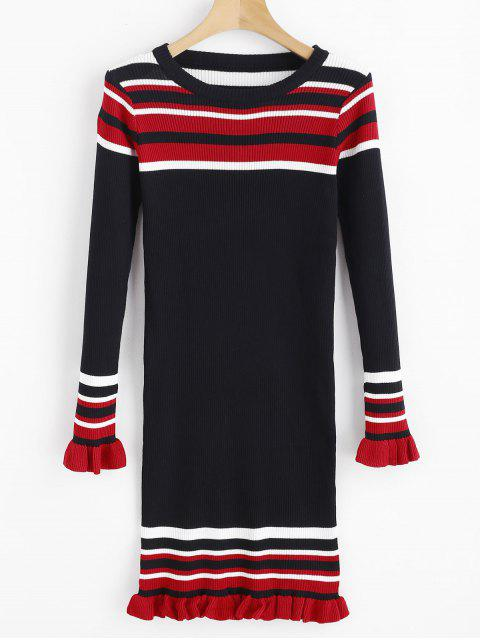 lady Stripes Ruffles Ribbed Sweater Dress - BLACK ONE SIZE Mobile