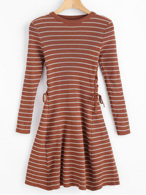 new Stripes Ribbed Lace Up Sweater Dress - BROWN ONE SIZE Mobile