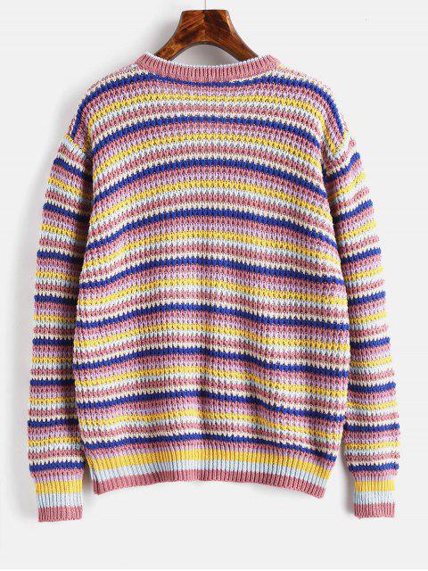 ゆったりストライプVネックセーター - カーキローズ ワンサイズ Mobile