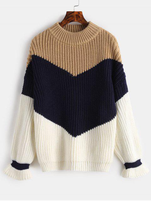 Suéter de bloque de color grueso Knit - Camel Marrón Única Talla Mobile