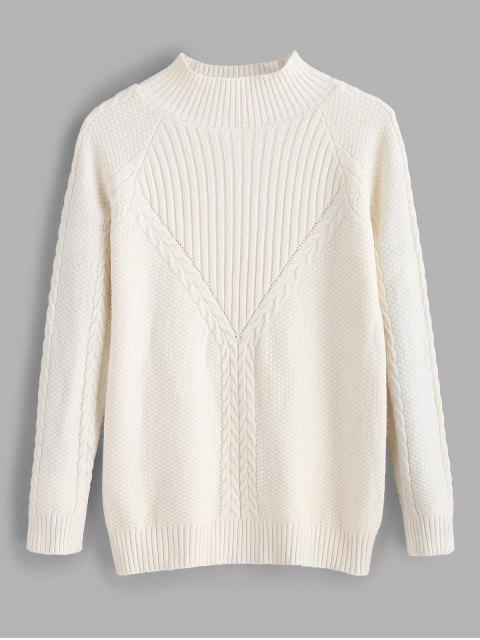 Pull en tricot côtelé - Blanc Taille Unique Mobile