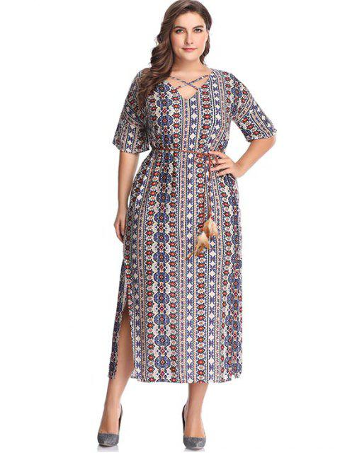womens Plus Size Printed Crisscross Maxi Dress - CRYSTAL CREAM 5X Mobile