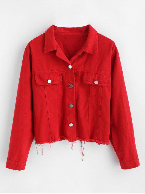 Veste à ourlet effiloché à motif de lettre - Rouge M Mobile