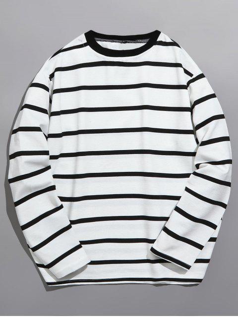 T-shirt Classique Rayé à Manches Longues - Blanc M Mobile