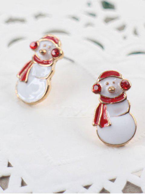Stilvolle Weihnachtsschneemann-Bolzen-Ohrringe - Weiß  Mobile
