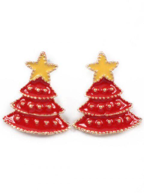 Boucles d'oreilles sapin étoile de noël - Rouge Lave  Mobile