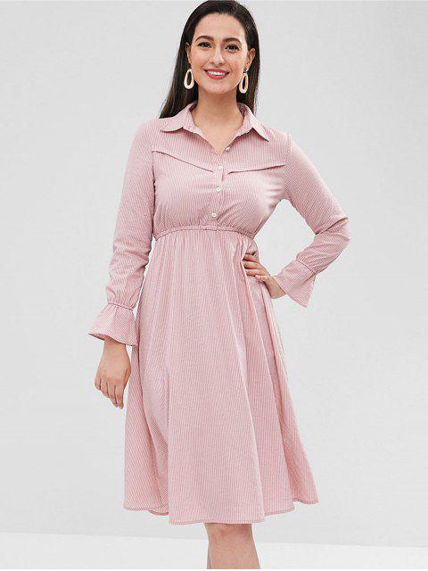 Robe chemise rayée décontractée - Rose Kaki S Mobile