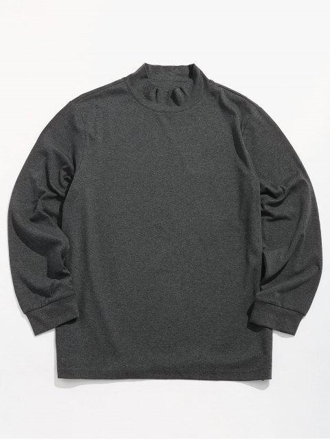 T-shirt Lettre Rayé Détaillé en Couleur Unie - Gris Carbone 2XL Mobile
