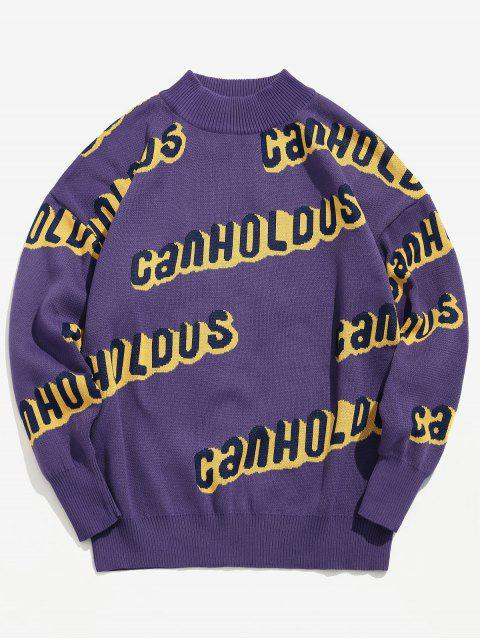 hot Crew Neck Letter Knit Sweater - PURPLE AMETHYST M Mobile