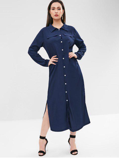 Button Up Faux Pockets Dress Dress - Cadetblue XL Mobile