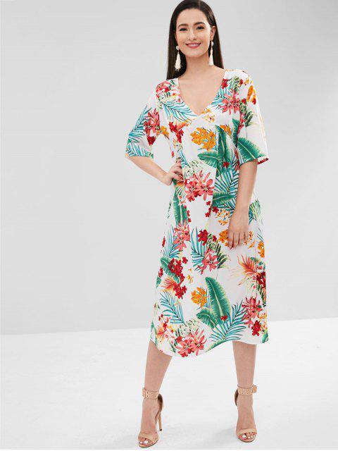 Robe Plongeante Feuille Fleur - Blanc M Mobile