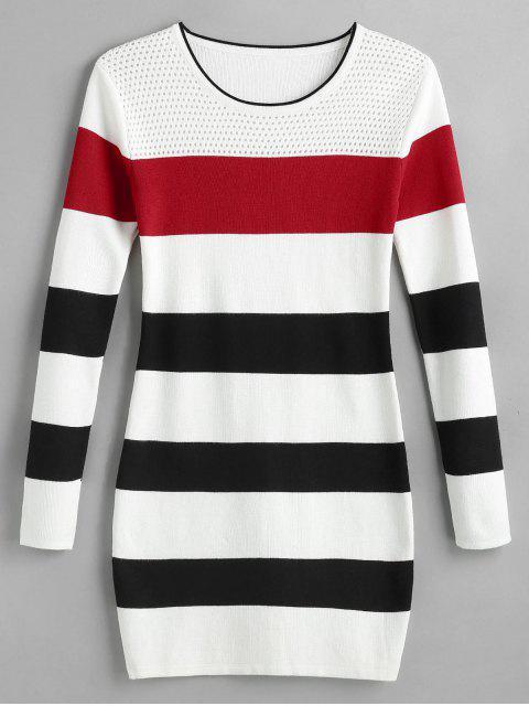 new Color Block Striped Mini Sweater Dress - MULTI-A ONE SIZE Mobile