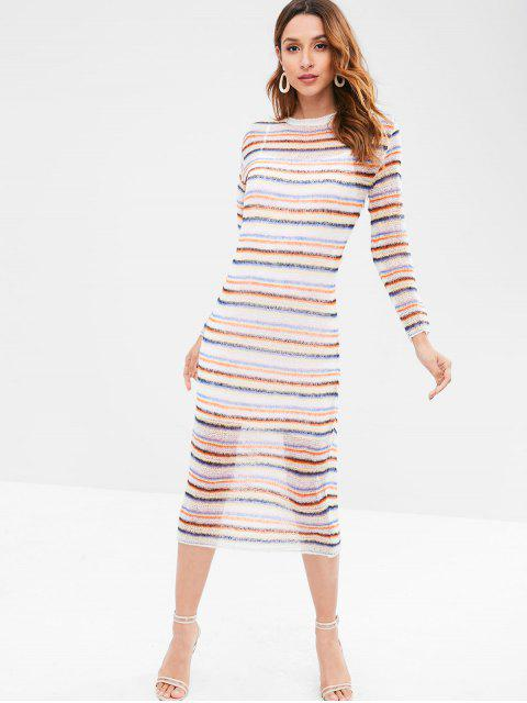 hot Striped Shift Knitted Dress - MULTI ONE SIZE Mobile