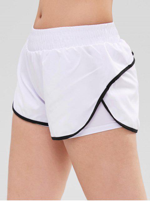 ladies Contrast Trim Transcend Now Sports Shorts - WHITE L Mobile