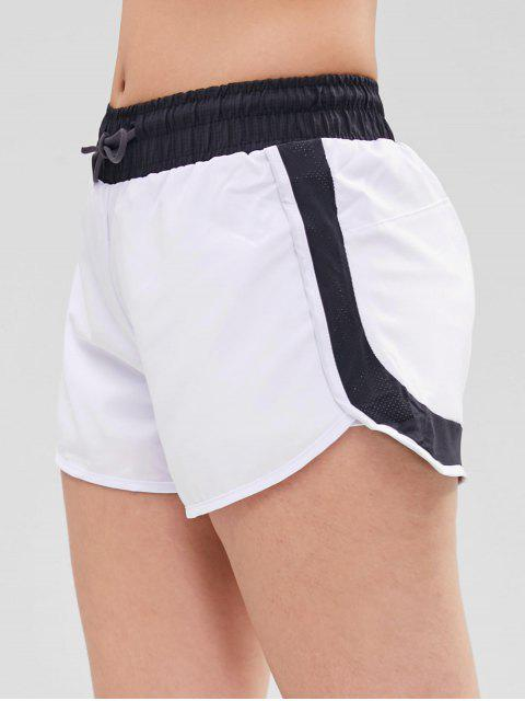 best Perforated Insert Drawstring Sports Shorts - WHITE M Mobile