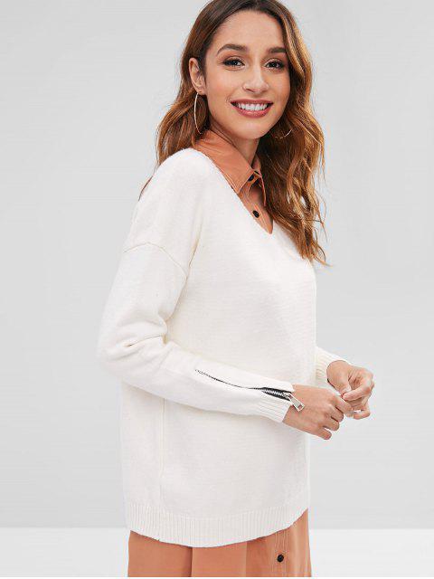 V Ausschnitt Reißverschluss Manschette Jumper - Weiß Eine Größe Mobile