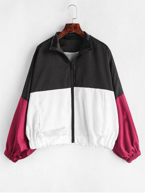 Glänzende Farbe Block Dolman Sleeve Jacket - Multi Eine Größe Mobile