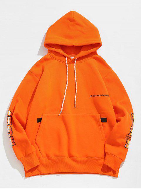 Pouch Pocket Buchstabe Fleece Hoodie - orange  XL Mobile