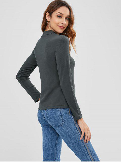 hot Ribbed Letter Embroidered Top - GRAYISH TURQUOISE S Mobile