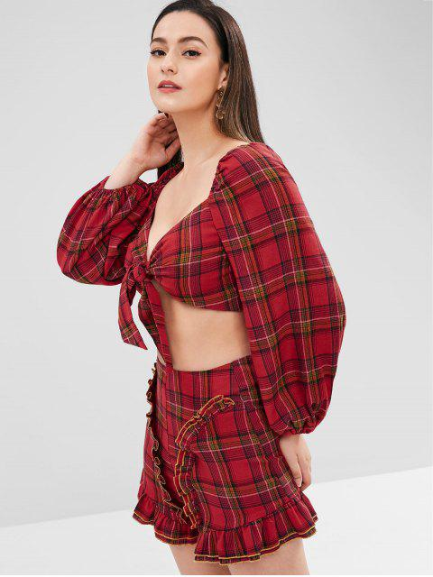 new ZAFUL Knotted Plaid Top and Shorts Set - FIRE ENGINE RED M Mobile