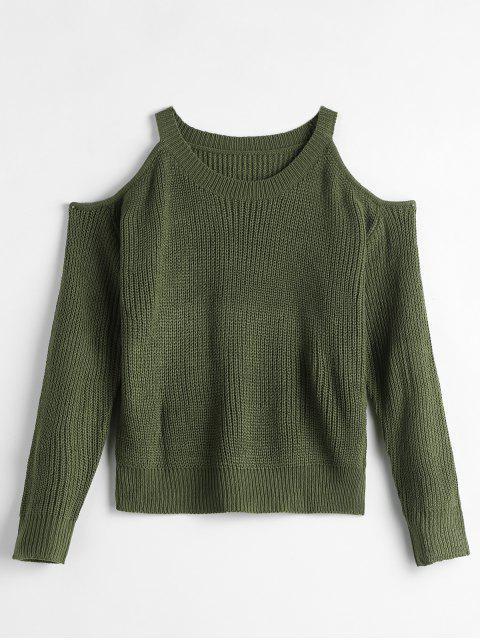 latest Solid Color Sweater with Cold Shoulder - ARMY GREEN ONE SIZE Mobile