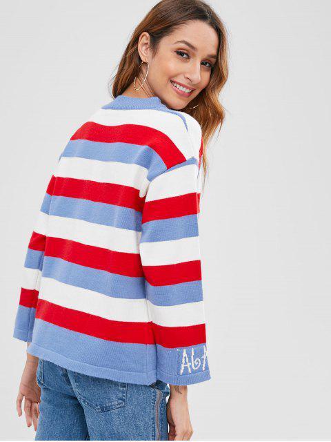 配色ストライプリブ付きセーター - マルチA ワンサイズ Mobile