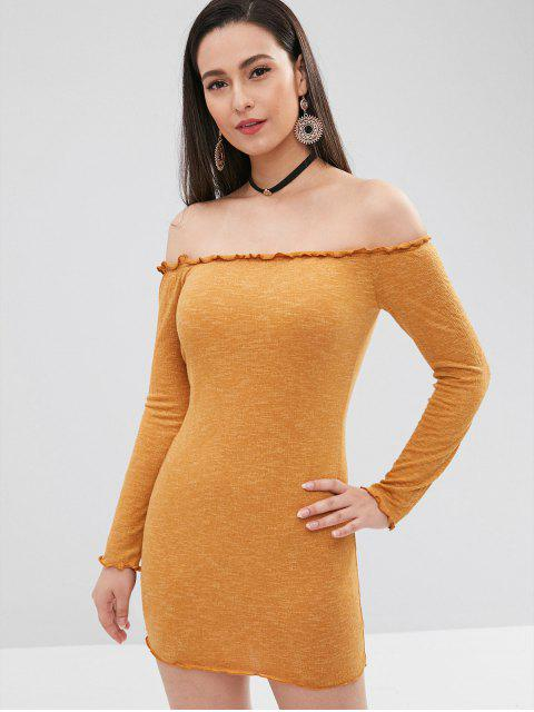 shops Lettuce Bodycon Off The Shoulder Dress - ORANGE GOLD S Mobile