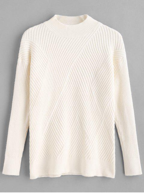 hot Mock Neck Diagonal Interlace Rib Knit Sweater - BEIGE ONE SIZE Mobile