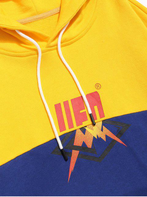 women ZAFUL Layered Contrast Patchwork Graphic Hoodie - YELLOW 2XL Mobile