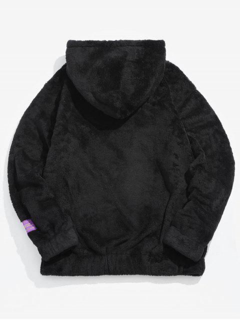 fancy Solid Pouch Pocket Fluffy Hoodie - BLACK M Mobile