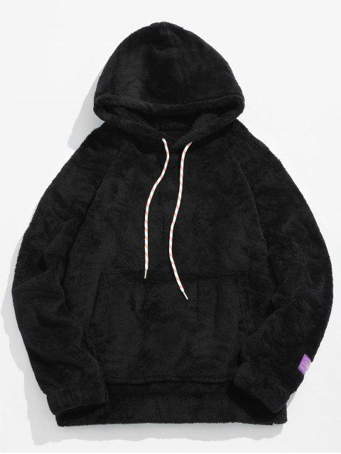 shop Solid Pouch Pocket Fluffy Hoodie - BLACK L Mobile