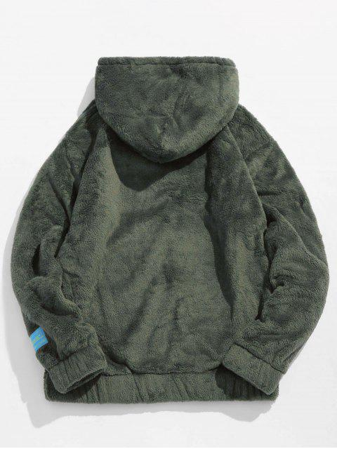 best Solid Pouch Pocket Fluffy Hoodie - ARMY GREEN L Mobile