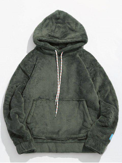 ladies Solid Pouch Pocket Fluffy Hoodie - ARMY GREEN 2XL Mobile